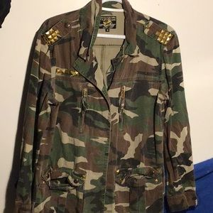 green camouflage jacket, with gold accents